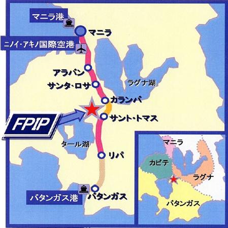 内外ゴムフィリピンのアクセスマップ